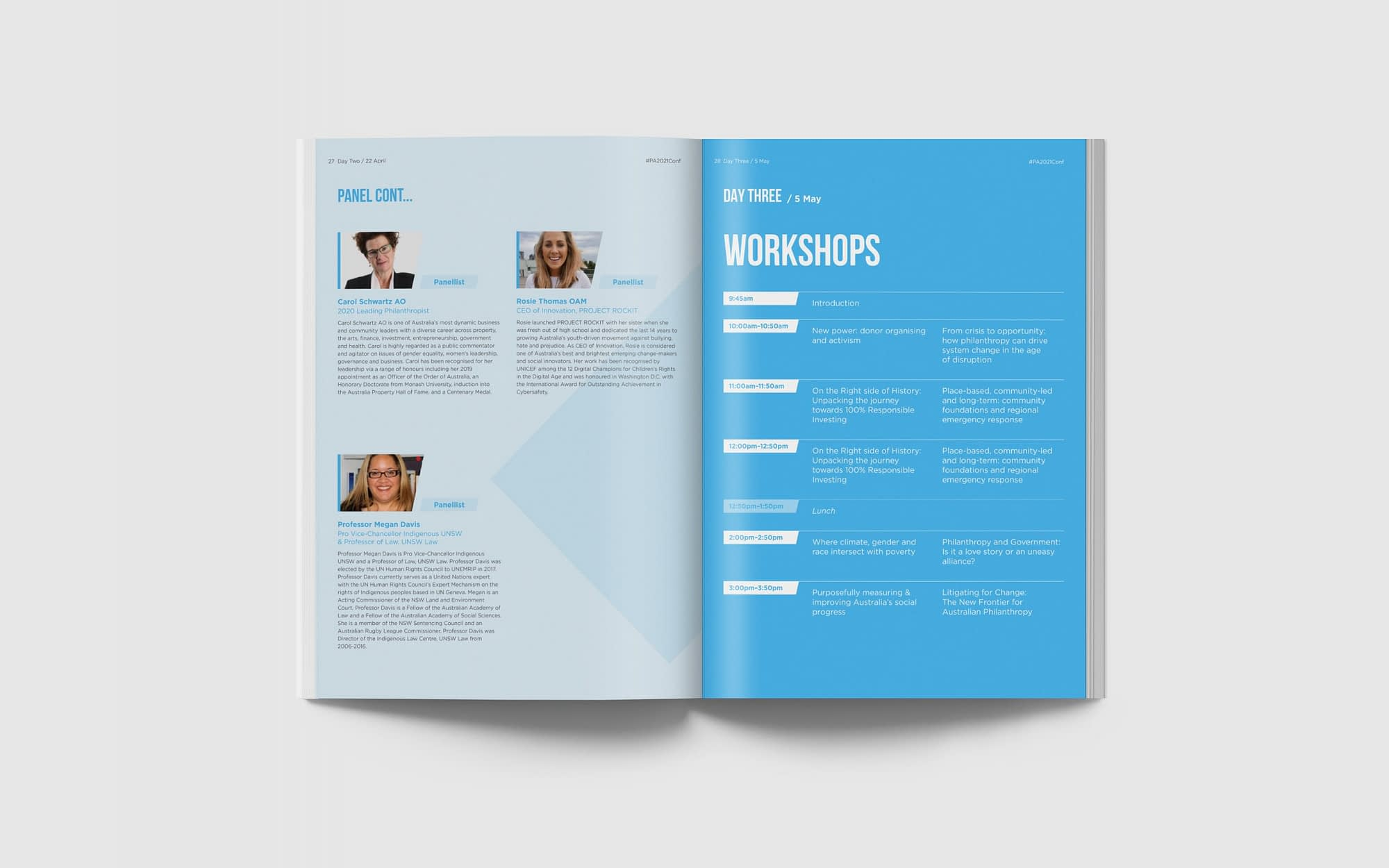 Philanthropy Australia National Conference 2021 program spread