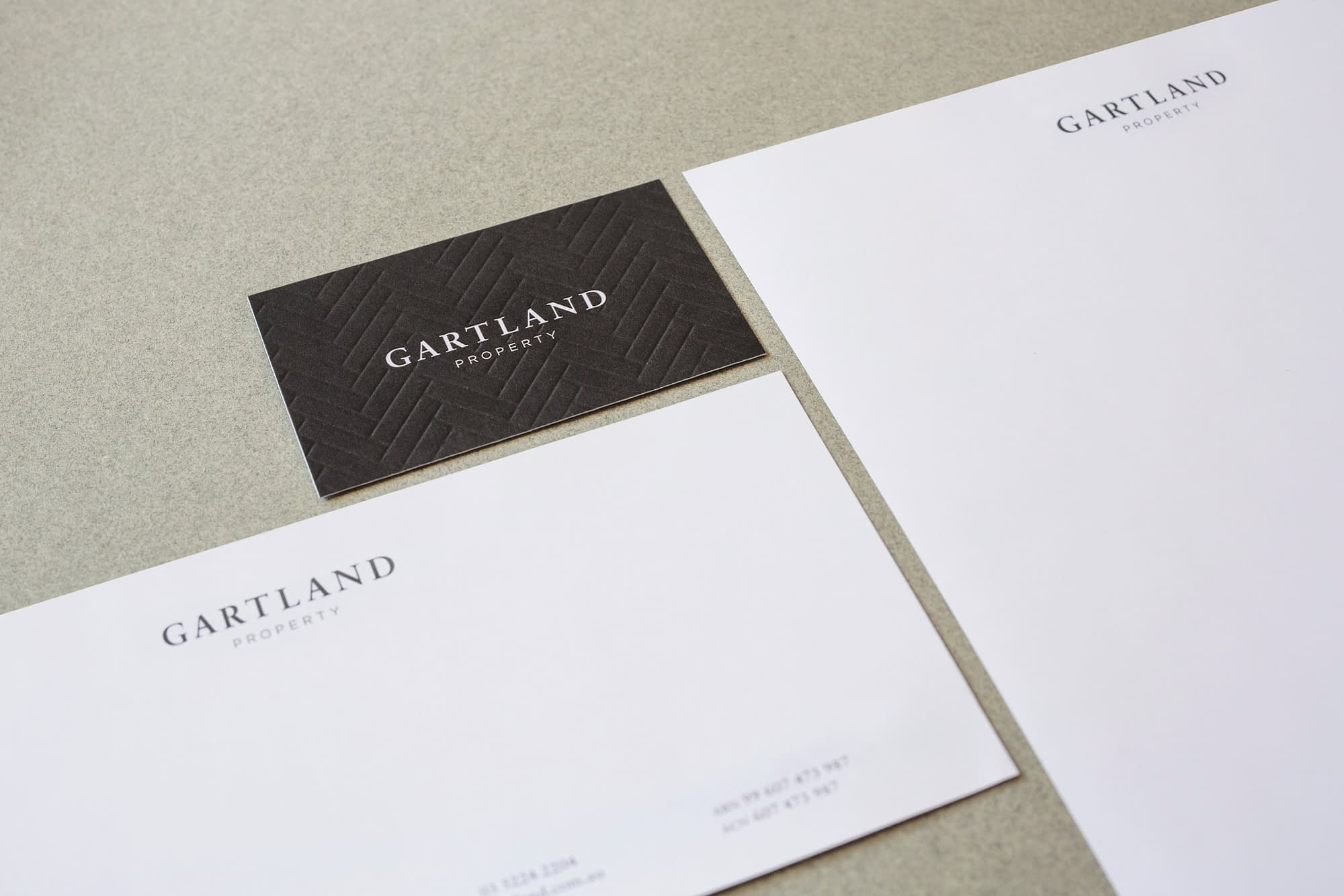 Gartland business card, letterhead, with compliments