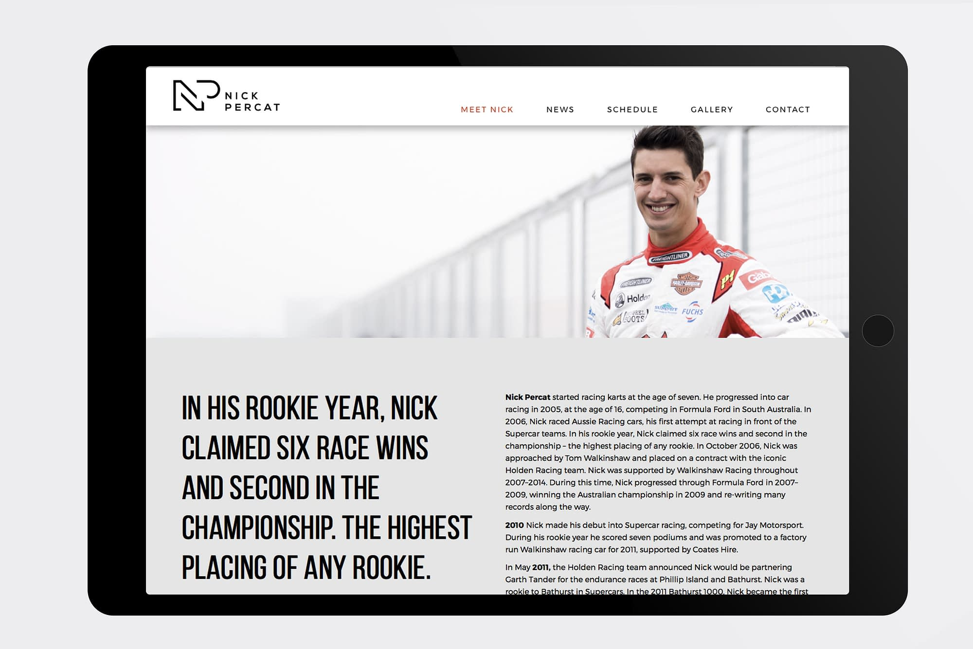 Nick Percat website Meet Nick page